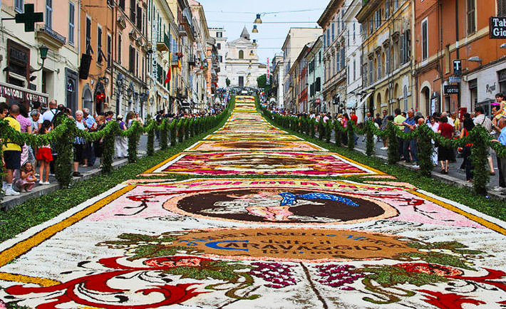 Italy First-timers in infiorata di Genzano