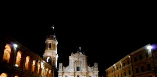 "alt=""Façade and Bell-Tower of Church - Sanctuary of Holy House at Loreto"""