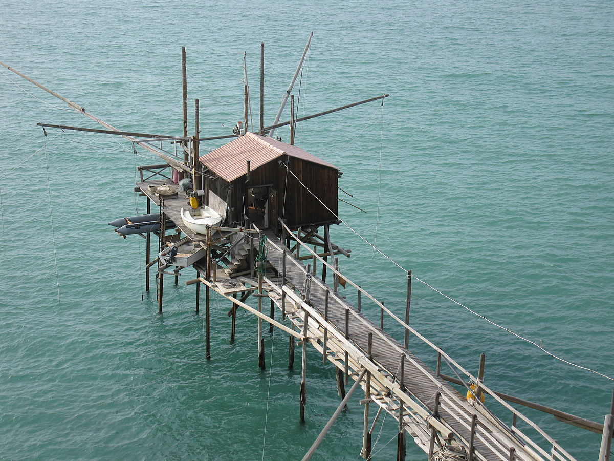 Termoli, Abruzzo, a trabucco, an old wooden fishing structure