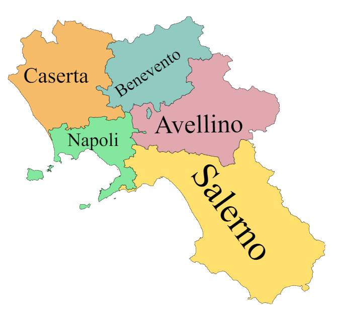 Map of provinces of Campania, Italy