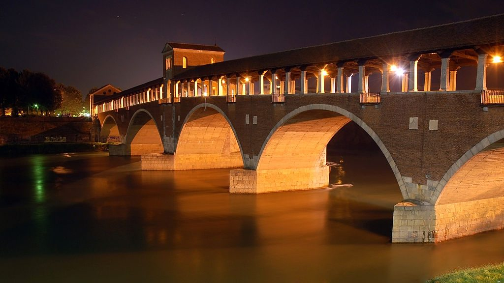 Covered Bridge in Pavia, Lombardy, Italy